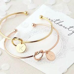 Gold Monogram Initial Letter Bracelet